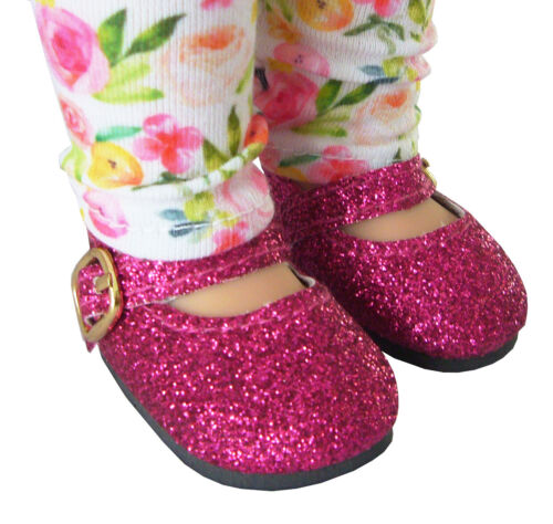"For 14/"" WELLIE WISHERS Doll Clothes Bright Pink Glitter Shoes American Girl"