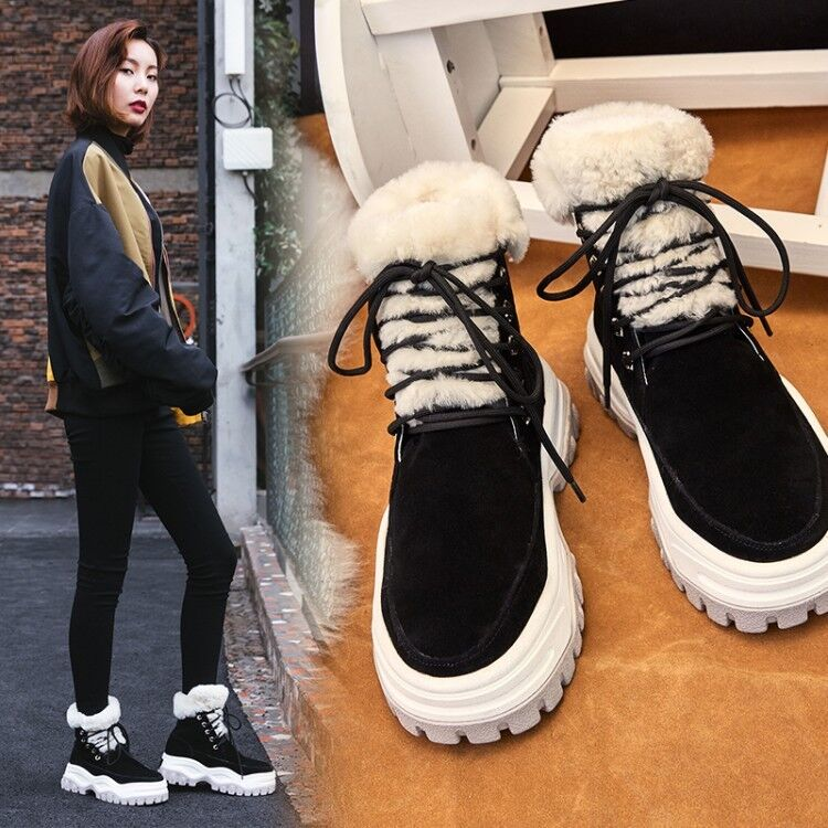 Femme Fashion en cuir et daim agneau fourrure à Lacets Plateforme Cheville Bottes Chaussures ICSE