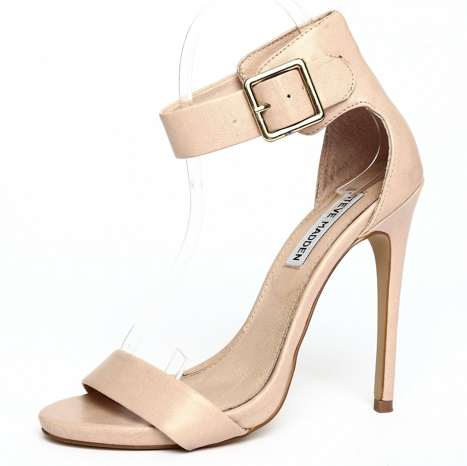 Steve Madden Marlenee Nude Ankle Strap Sandal Heels Sz 6.5M 3491