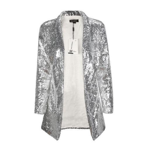 HOT Women Long Sleeve Sequined Blazer Coats Lady Cardigan Outwears Jackets Tops