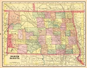 1895 Antique NORTH DAKOTA State Map Vintage Map of North Dakota 5370 ...