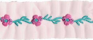 0.9m Pink Türkis Blumen Stickerei Rand Band Lauflänge