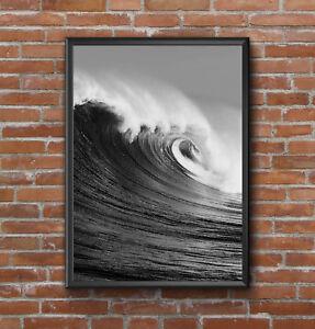 Mar-Negro-Blanco-Onda-escandinavo-Arte-Moderno-Diseno-Impreso-Colgante-De-Pared-A4