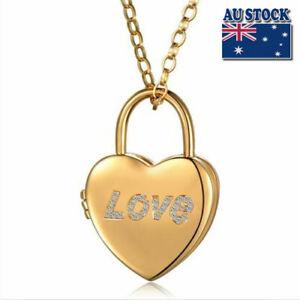 Women/'s 18K Gold GF Hollow Heart Locket Antique Crystal Pendant Necklace