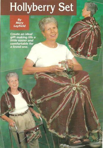 Hollyberry Lap Afghan /& Walker Tote crochet PATTERN INSTRUCTIONS