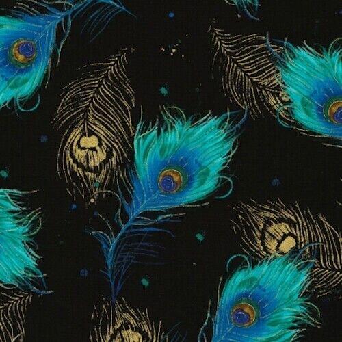 29 Moonlight Penacho Plumas De Pavo Real Negro Metálico Quilting fabric no