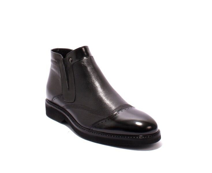 Roberto Serpentini 19217 Black Leather Shearling Zip-Up Ankle Boots 41 / US 8