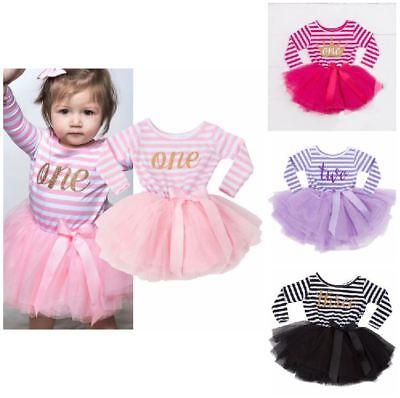 Umile Manica Lunga A Righe Bambino Primo Compleanno Per Neonate Dress Party Bambini Vestiti-