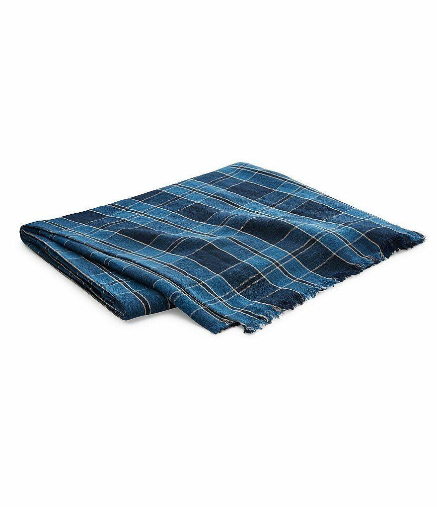 Ralph Lauren Artisan Loft Evan 54  x 72  Throw Blanket Navy Plaid Linen  355