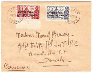 French Cameroun SEMIPOSTAL-Sc#B14,#15-DOULA FEV/1941-LOCAL USE-VERY SCARCE
