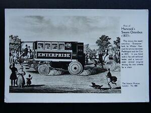 London-Transport-Paddington-c1833-HANCOCK-039-S-STEAM-OMNIBUS-c1950s-RP-Postcard