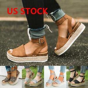 Women-Flat-Platform-Peep-Toe-Sandals-Espadrilles-Summer-Ankle-Strap-Shoes