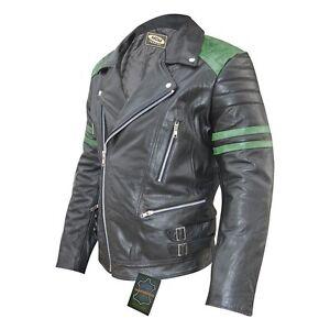 Retro-Moto-Giacca-di-pelle-80-s-Oldschool-in-verde