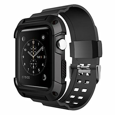 Apple Watch Series 3/2/1 42mm Armor Rugged Protective Case with Black Strap Band