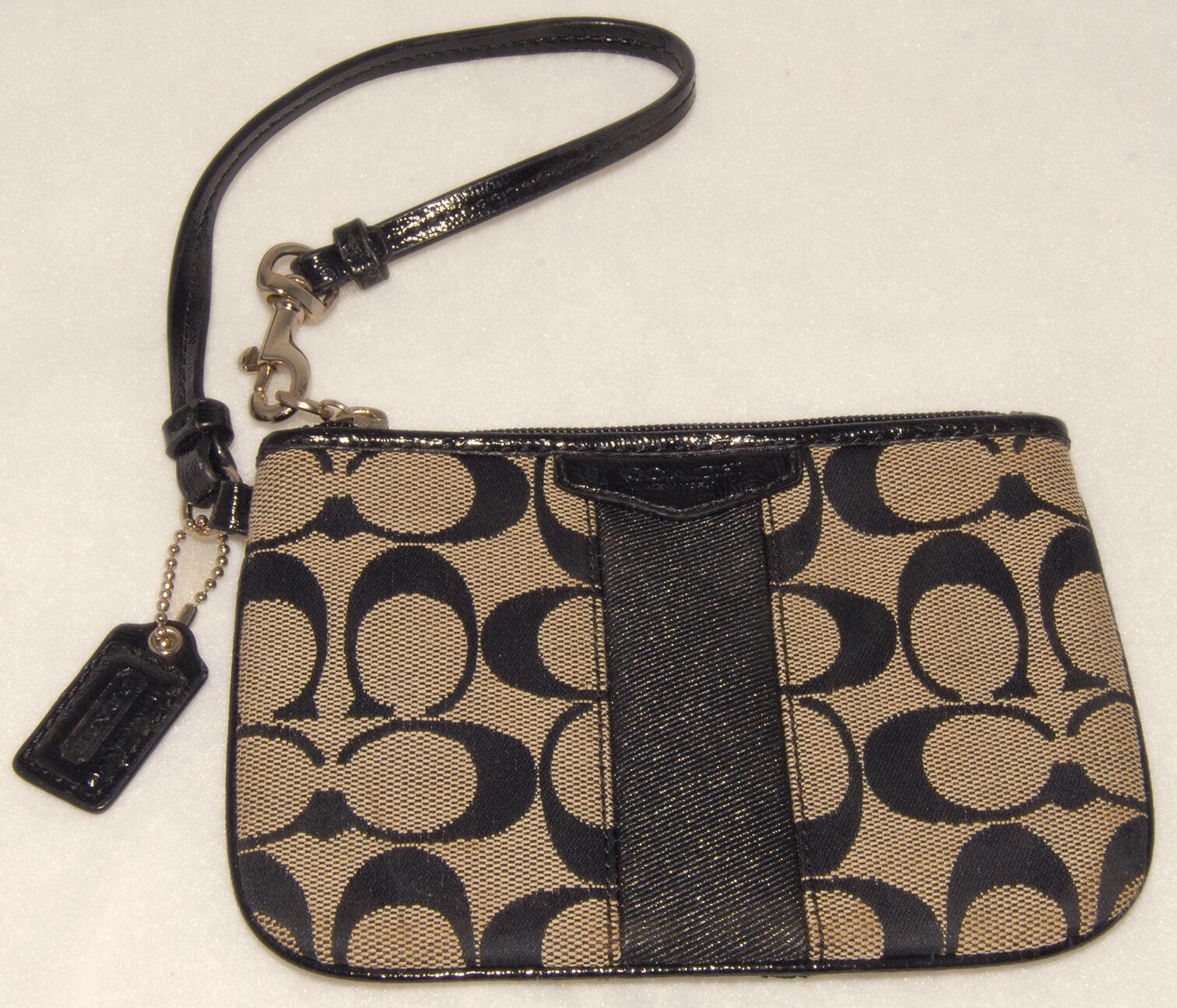 COACH - Black - Jacquard Signature C - Wristlet Wallet Black Stripe FOB *NICE!