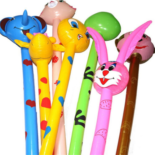 2Pcs Cartoon Inflatabel Animal Long Hammer Stick Children Outdoor Toys Gift lx