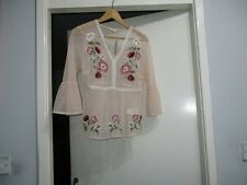 Beautiful Pink mesh floral embroidered peplum hem top £28.00
