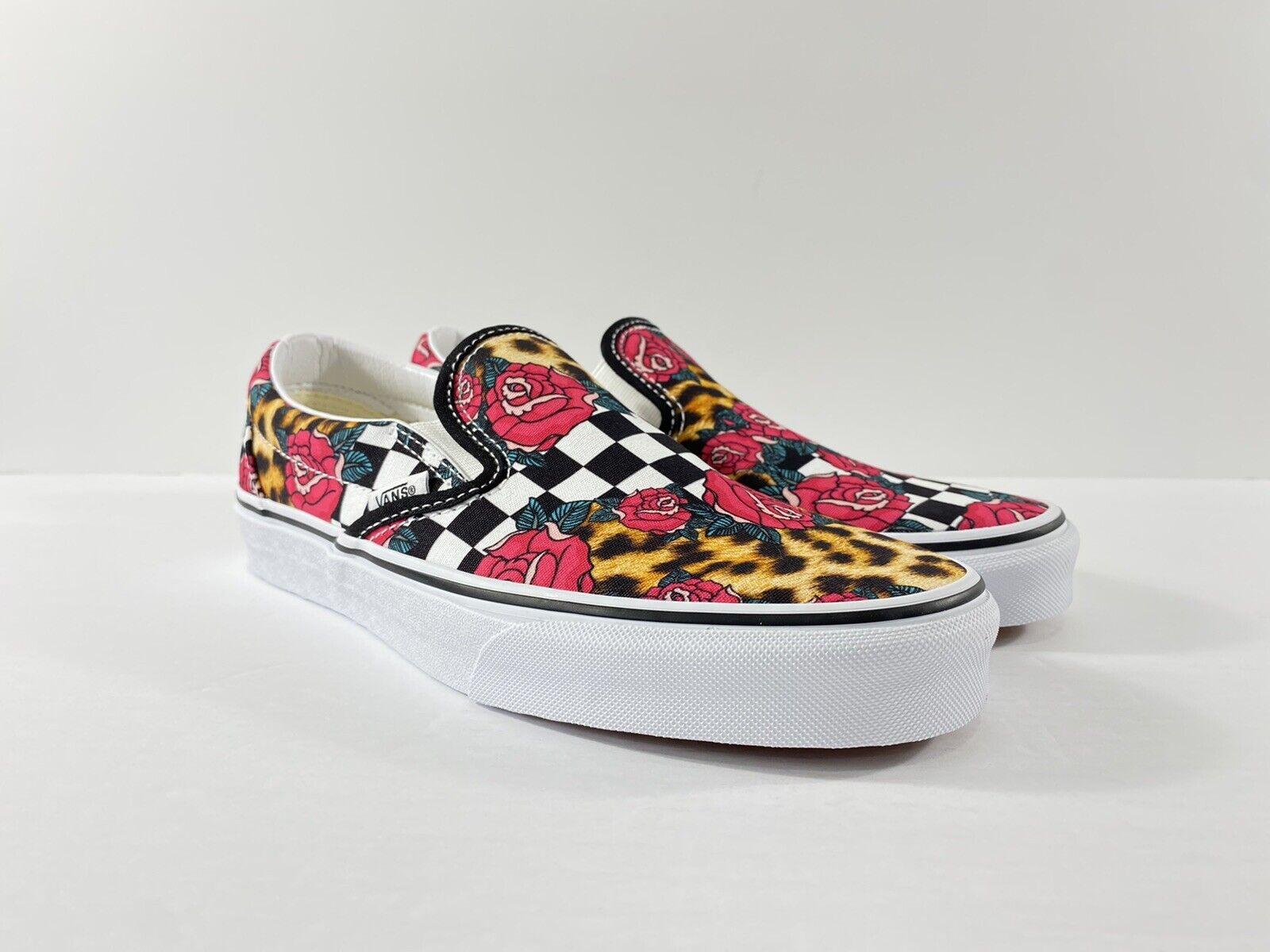 Vans Classic Slip-On Rose Animal Print Check Checkerboard Shoes New W/Box Men's