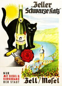 Decoration Poster.Home room art.Interior design.Black cat wine liquor.Bar.7195