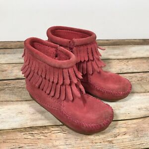 05e2e51aa33df Details about Minnetonka Moccasin Ankle Boots Pink Fringe Toddler Girls  Size 8