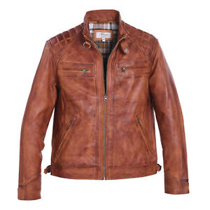 d0e9036b255 Mens Gents Soft Full Leather Centre Zip Jacket Quilted Shoulders Tan ...
