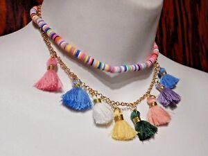 Long Bead Necklace Bohemian Necklace Boho Necklace Rainbow Tassel Necklace Free Shipping Multi tassel Necklace Tassel Necklace