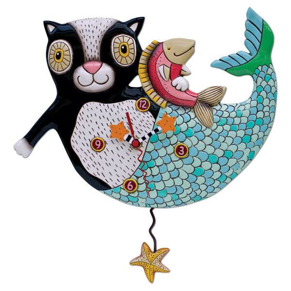 〓 Michelle ALLEN DESIGNS Wall Clock Cat Kitten Mermaid Design MerCat