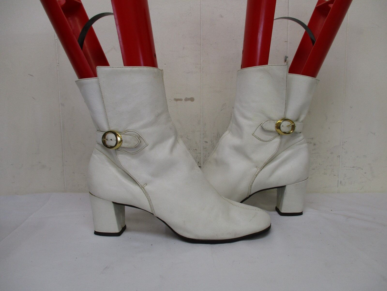 JOHANSEN ETTES White Leather Buckle Ankle AA Boots Womens Size 7 AA Ankle USA be7fff