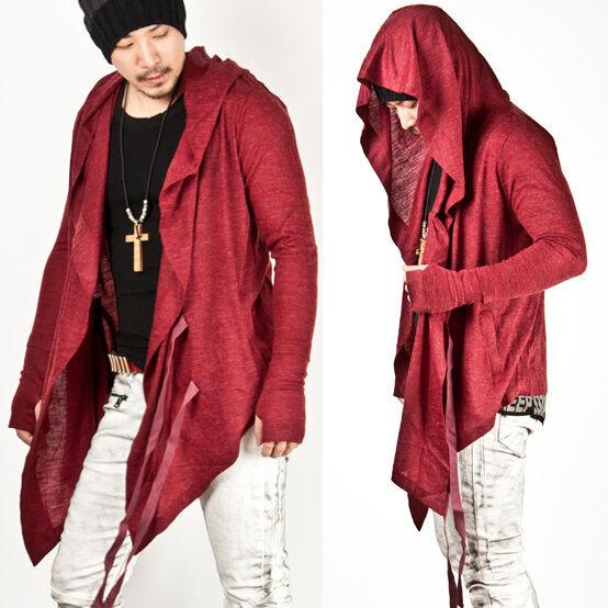 New Mens Fashion Mod Stylish Avant-garde Dark Punk Hood Red Cape Cardigan Jacket