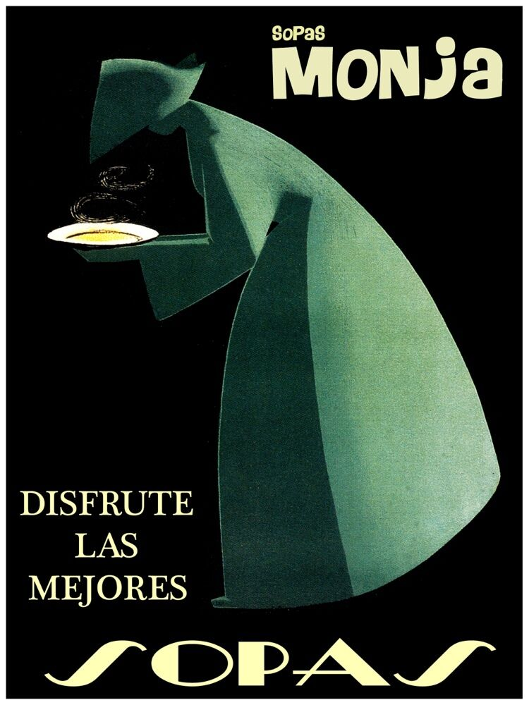 4338.Sopas monja.woman in verde holding hot soup.POSTER cor Home Office art