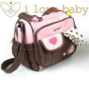 Fashion Mummy Women Small Heart Baby Diaper Nappy Changing Shoulder Bag Pink