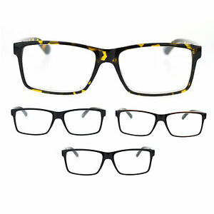 eea2e043268 Image is loading Mens-Thin-Plastic-Frame-Rectangular-Luxury-Reading-Glasses