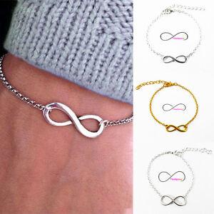 Bracciale-INFINITO-argento-oro-catena-2mm-braccialetto-Uomo-Donna-Amore-Amicizia