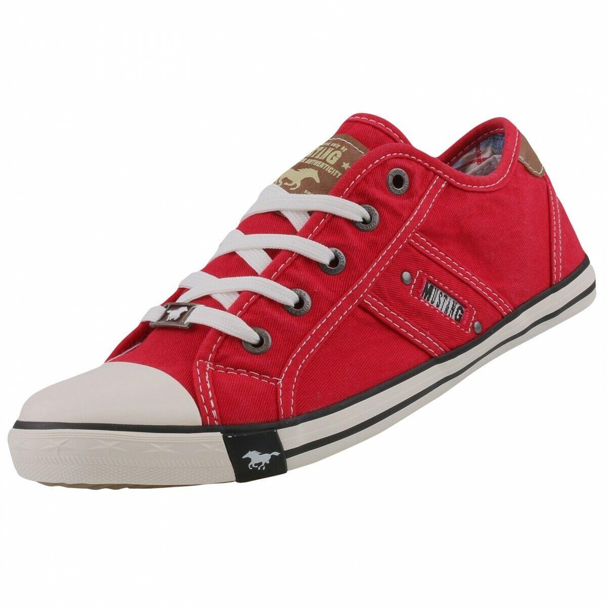 Nuevas Zapatillas Zapatos Zapatos de señora Mustang Zapatos De Ocio Bajo Zapatos Lona Con Cordones