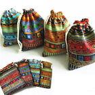 3Pcs 9.5x12cm Linen Bunt Tribal Tribe Drawstring Jewellery Gift Bags Pouches lia