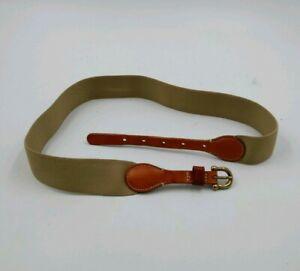 Waist-size-Brooks-Brothers-L-Belt-khaki-tan-Canvas-Stretch-Brass-Buckle