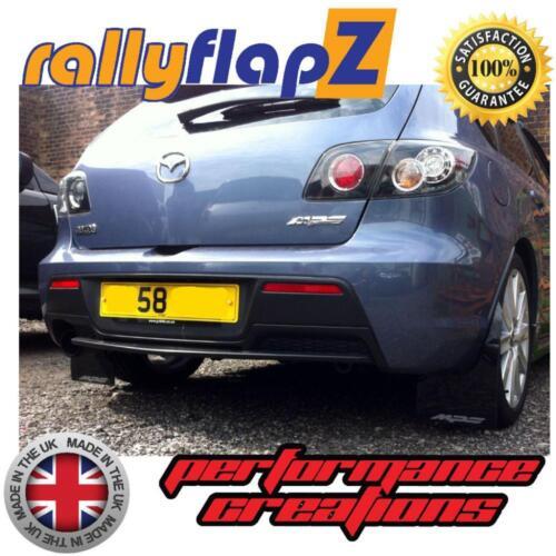 Rally Mudflaps MAZDA 3 MPS 07-09 Mk1 Mud Flaps Kit Black Logo Silver Kaylan PU