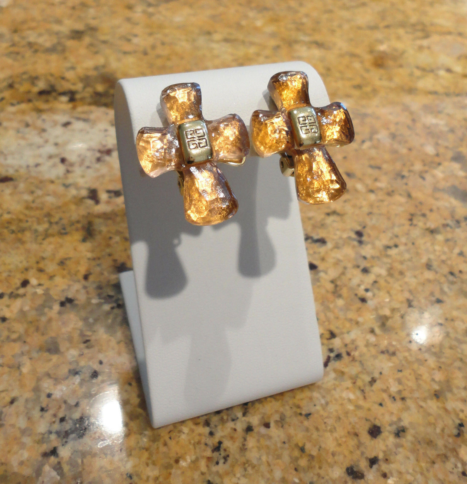 Givenchy Cross Statement Earrings Clip On Beautiful