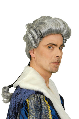 Hommes perruque Mozart Blanc O baroque rococo costume noble juge garde GRIS F