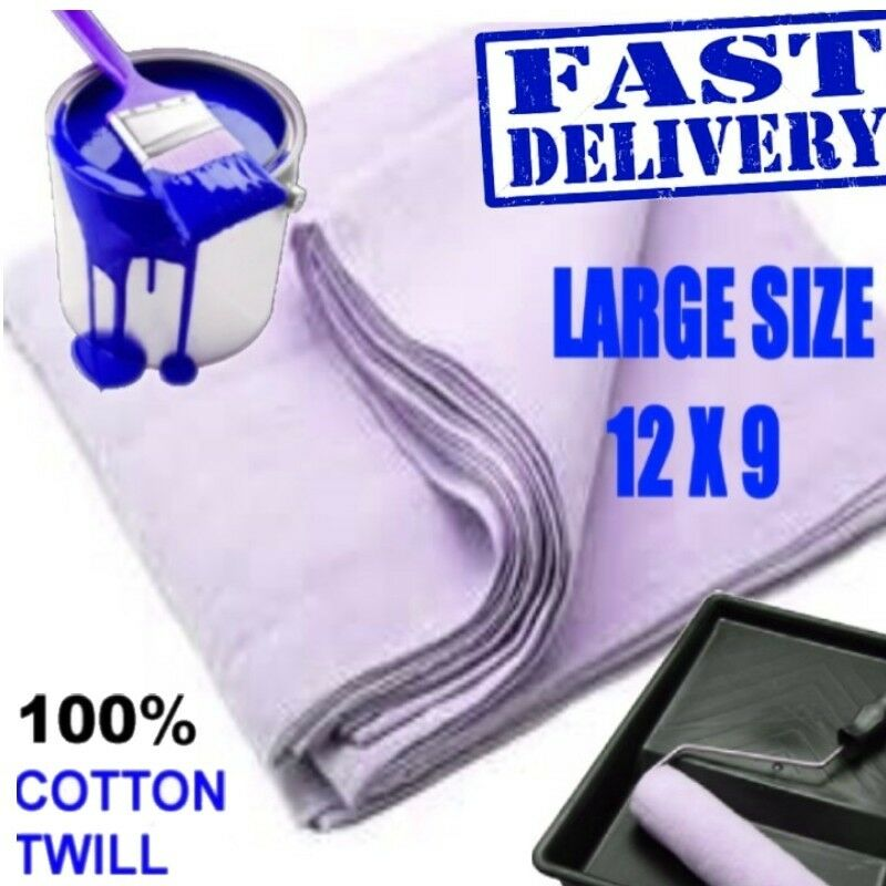 12 X Large (12'X9') Dust Sheets 100% Professional Cotton Twill LOWEST UK PRICE