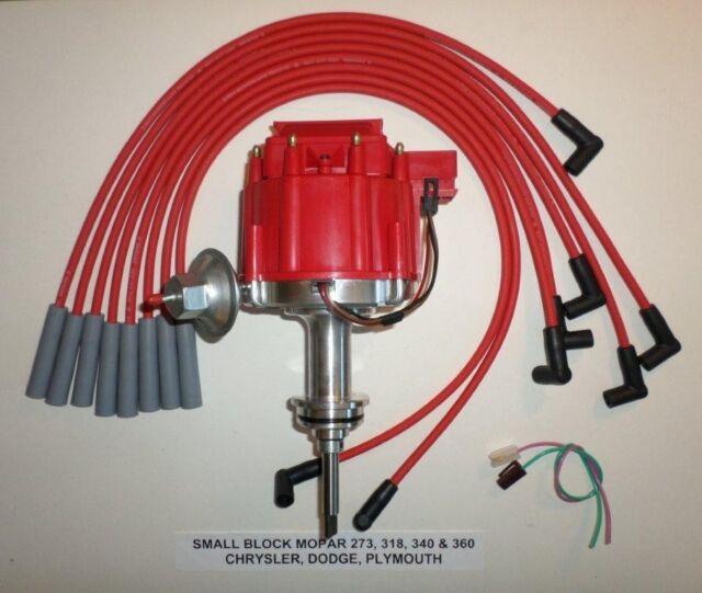 SMALL BLOCK MOPAR 1964-89 273-318-340-360 HEI DISTRIBUTOR + RED Spark Plug Wires