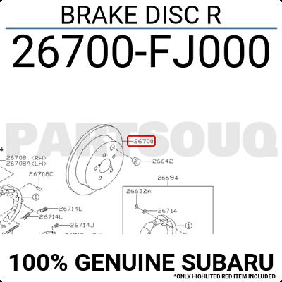 SUBARU 26700FJ000 Brake Disc