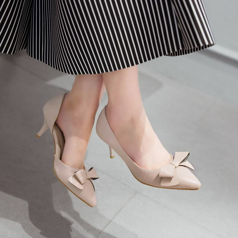 Womens Pumps Bowknot Pointy Toe Slip On Kitten Heels Sandals Casual shoes