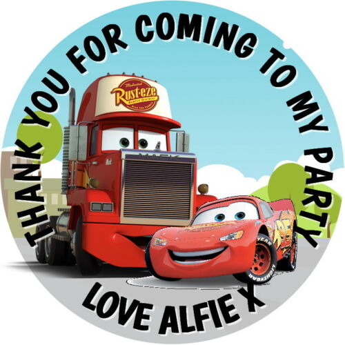 CARS LIGHTENING McQUEEN /& MACK  PERSONALISED GLOSSY CHILDREN/'S PARTY STICKERS,