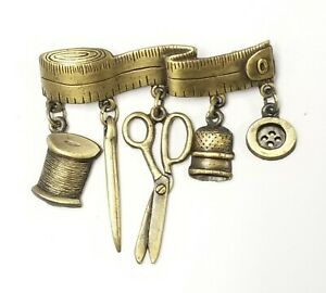 JJ-Jonette-Brass-Pin-Brooch-Sewing-Spool-Needle-Scissors-Thimble-Button-MeasTape