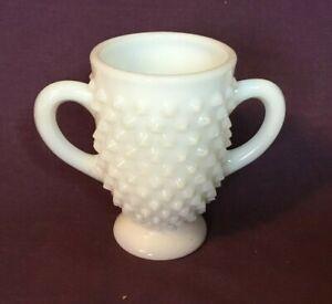 """*Vintage Hobnail White Milk Glass Sugar Bowl no lid 3 1/2"""" tall"""