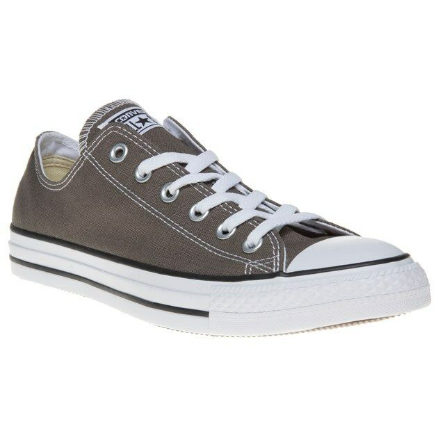 New  Uomo Converse Grau All Star Ox Canvas Trainers Lace Up