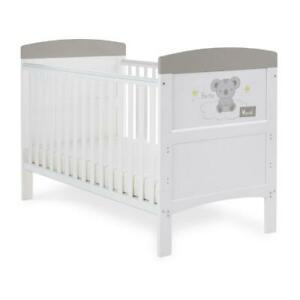 Obaby Grace Inspire Cot Bed (Hello World Koala - Grey) - Suitable From Birth