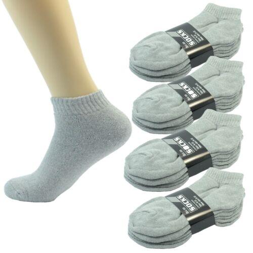 Wholesale Solid Gray Men/'s Ankle Quarter Sport Cotton Socks Size 9-11 10-13