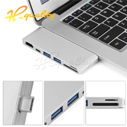 Type-C To 4K*2K HDMI Dual USB 3.0 HUB Adapter Converter Card Reader For Macbook